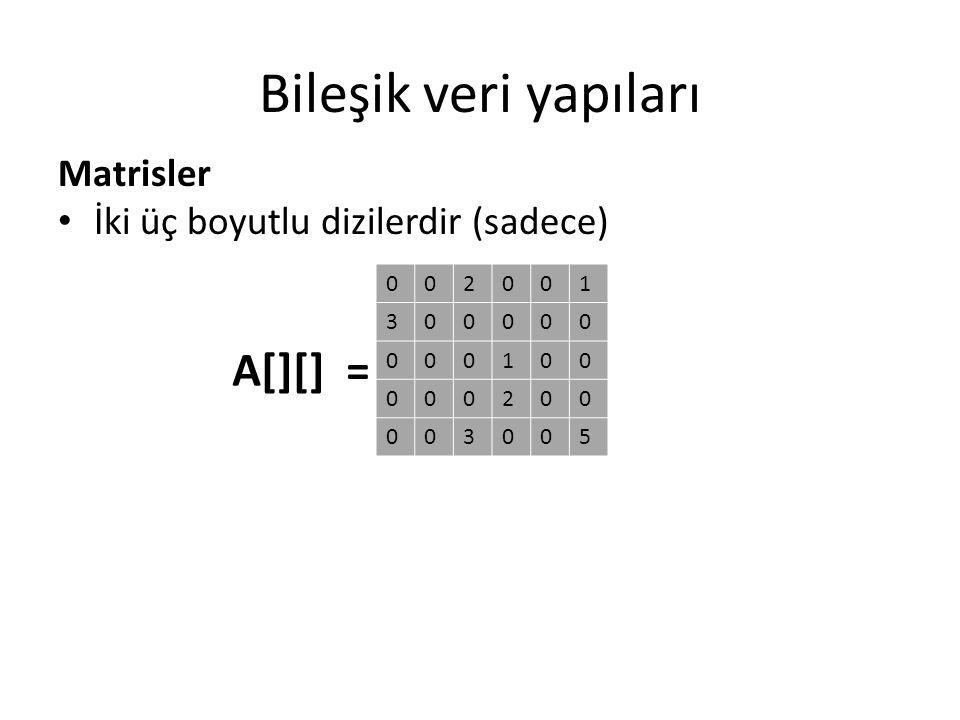 Bileşik veri yapıları A[][] = Matrisler